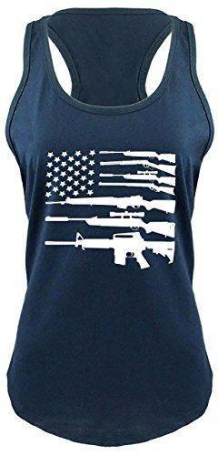 Comical Shirt Ladies Gun American Flag Shirt Patriotic USA Pride Tee Racerback