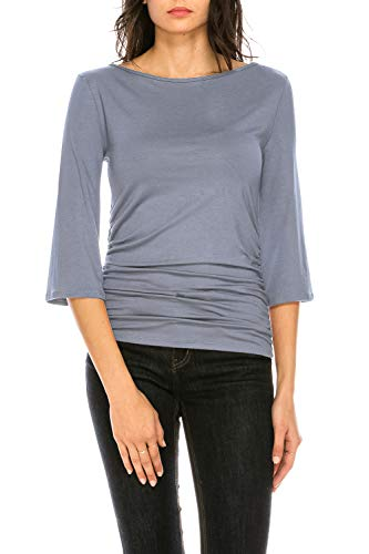 (CLEMONCE Women's 3/4 Sleeve Boat Neck Ruched Shirred Side Flare Sleeve Top PowderBlue XL)