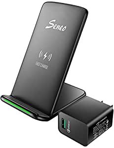 Wireless Charger, Seneo (Upgraded with QC 3.0 Adapter) 10W Fast Wireless Charger Charging Pad Stand for Galaxy S9/S9+ Note 8/5 S8/S8+ S7/S7 Edge S6 Edge+, 5W Standard Qi Charger for iPhone X 8 8 Plus