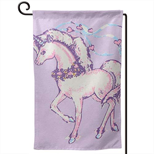 Unicorn Painting Garden Flags Full Width Printing and Double Sided Printing 12.5 X 18 Inch Spring Summer Welcome Yard Decor Quality Yard Holiday and Seasonal Decorative ()