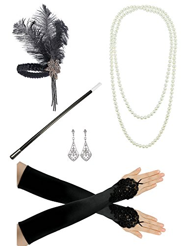 Womens All That Jazz Flapper Costumes (Zivyes 1920s Gatsby Flapper Costume Accessories Feather Headband Earrings Pearl Necklace Gloves Cigarette Holder)
