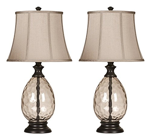 Ashley Furniture Signature Design - Olivia Glass & Metal Table Lamp with Fabric Shade - Set of 2 - Bronze Finish