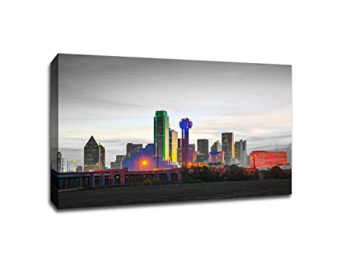 Dallas - Touch of Color Skylines - 24x16 Gallery Wrapped Canvas Wall Art ToC (Canvas Dallas Poster)