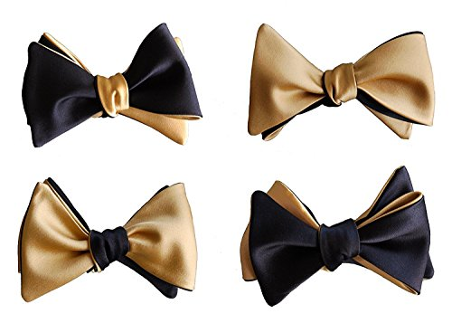 Knot Theory Classic Black and Gold Bow Tie 4-Way Reversible Self Tie Butterfly James Bond Collection ()