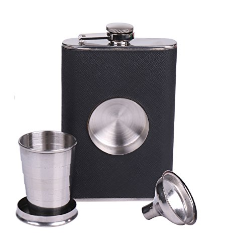 Shot Flask: 8 oz Stainless Steel Flasks For Liquor: Flask Set With Built-In Collapsible Shot Glass And Flask Funnel, Hip Flask For Men And Women- By Infinite Bliss