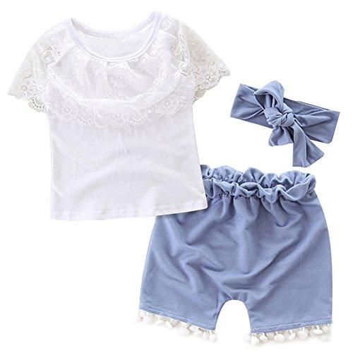 Scfcloth 3Pcs Newborn Baby Girl Lace Short Sleeve Tops+Denim Shorts + Headband Clothing Outfits Sets (6-12 months)