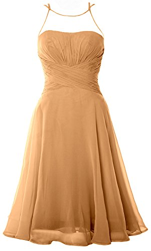 MACloth Elegant Illusion Short Cocktail Dress Chiffon Wedding Party Formal Gown Gold Pm3IRs