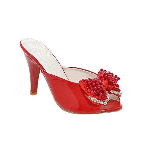 Carolbar Women's New Style Chic Beaded High Heel Bow Peep Toe Sandals Red Gew2Zpo