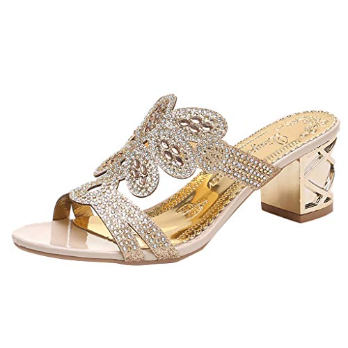 - Sunhusing Women Stylish Trend Bohemian Crystal Rhinestone Thick with Roman Shoes Peep Toe Sandals Slippers Beige