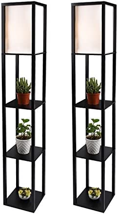 LED Shelf Floor Lamp – Simple Design Modern Standing Lamp with Soft Diffused Uplight – Asian Style Wooden Frame with Convenient Open Box Display Shelves- Black,Set of 2 Black 2