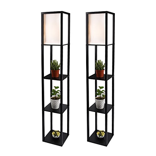 LED Shelf Floor Lamp - Simple Design Modern Standing Lamp with Soft Diffused Uplight - Asian Style Wooden Frame with Convenient Open Box Display Shelves- Black,Set of 2(Black 2)