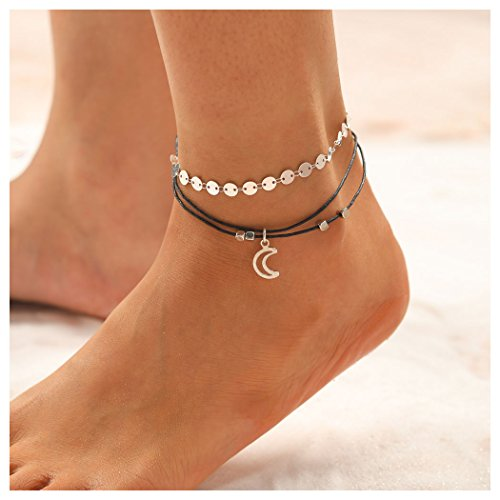 Aukmla Bead Anklet Beach Ankle Bracelet Foot Chain Barefoot Sandal Adjustable for Women and Girls ()