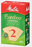 Melitta #2 Cone Coffee Filters, Bamboo, 80 Count