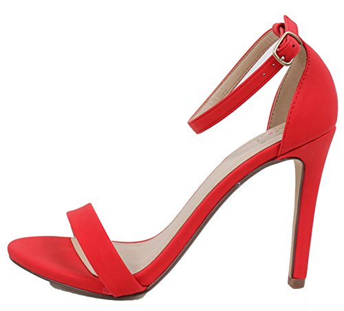 Utsökta Kvinnor Öppen Tå Ankelbandet Enda Sula Klänning Sandal (röd, 6,5 M Oss Kvinnor)