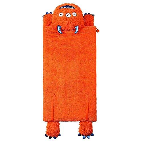Kids Plush Animal Slumber/Sleeping Bag with Super-Soft Cozy Faux Fur (Orange Monster)