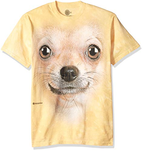 The Mountain Chihuahua Face Adult T-Shirt, Yellow, Large
