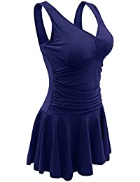 Ecofun Women's Plus-Size Polka Dot Shaping Body One Piece Swim Dresses Swimsuits