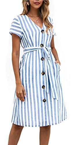 OEUVRE Women Short Sleeve V Neck Belted Tie Waist Button Down Shirt Dress Striped Midi Dress with Pocket Blue M