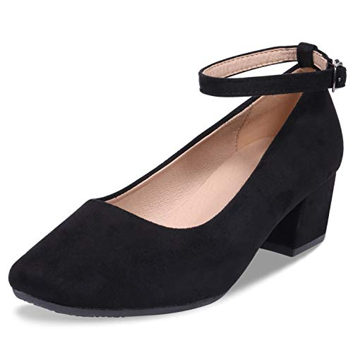 (CINAK Low Heel Chunky Heels Dress Shoes for Women- Comfortable Ankle Strap Pumps Square Toe Ladies Mary Jane)