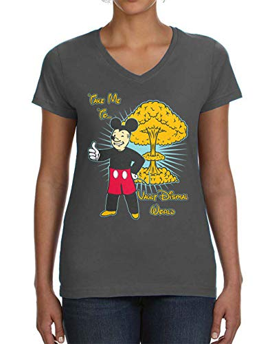 Ladies Charcoal Vault - Tenacitee Ladies Vault Dismal World V Neck T-Shirt, Large, Charcoal