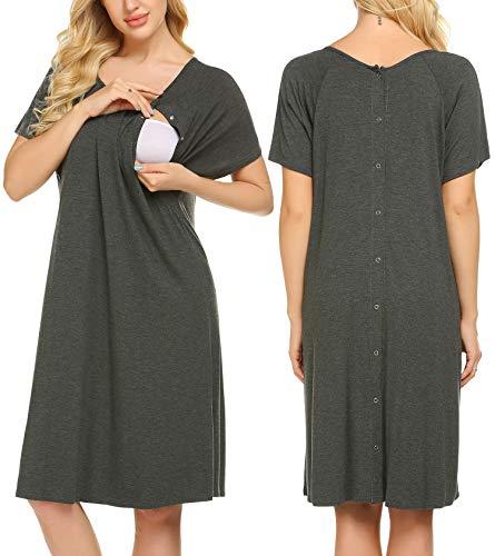 Ekouaer Short Sleeve Nursing Sleep Dress for Summer Solid Cotton Maternity Hospital Gown with Button(Dark Grey,XL)
