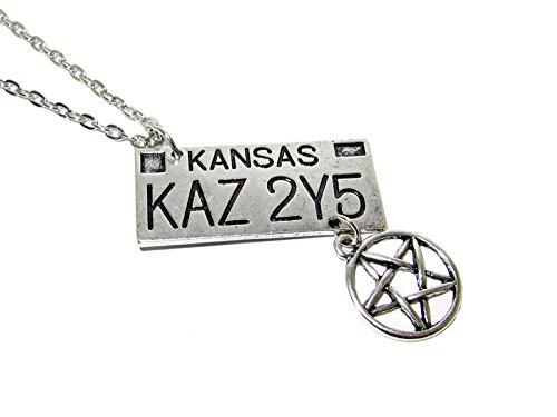 QueenGEEK Supernatural KAZ 2Y5 Impala License Plate Pentagram Symbol Pendant Necklace US SELLER