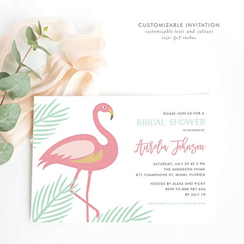 Dozili Tropical Bridal Shower Invitation Let's Flamingle Bridal Shower Invitation Tropical Invitation