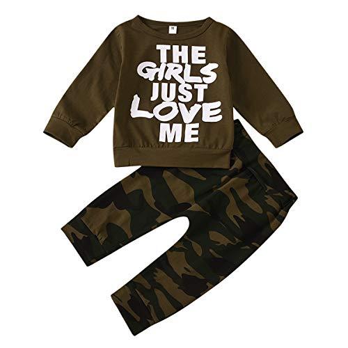2 Stks Baby Peuter Jongens Mode Outfits Brief Afdrukken Herfst Lange Mouw Katoen Sweatshirt Camouflage Patroon Broek…