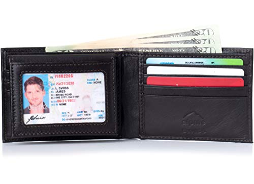 Alpine Swiss Mens Leather Wallet 2-In-1 Bifold Flip up Removable Card Case Dark Brown ()