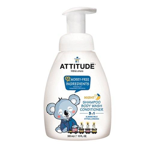 ATTITUDE 3 in 1 Night Foaming Shampoo, Body Wash and Conditioner, Almond Milk, 10 Fluid Ounce