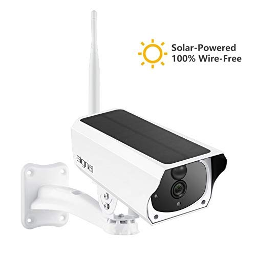 (Solar Powered Camera with LG Rechargable Batteries HD 1080p Wireless Waterproof PIR Sensor Motion Detection Night Vision Two-Way Audio WiFi 32GB SD-Card Remote Viewing Free App and Cloud Storage)