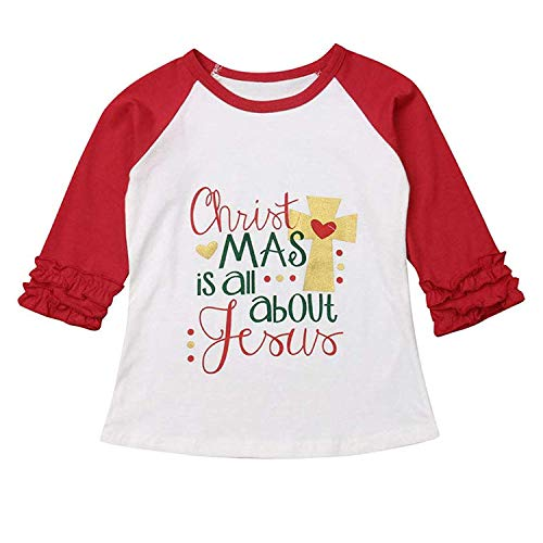Halloween Toddler Kids Baby Girls Unicorn Pumpkin T-Shirt Long Sleeve Top Lace Sleeve Clothes Set (Red & Jesus, 6-12 Months)