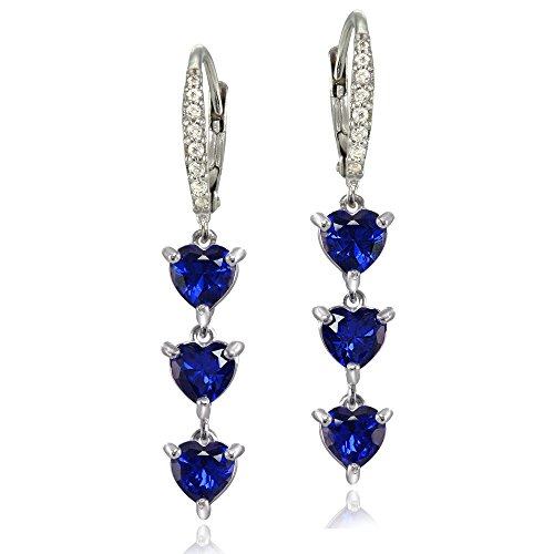 Sterling Silver Created Blue Sapphire and White Topaz Heart 3-Stone Dangle ()
