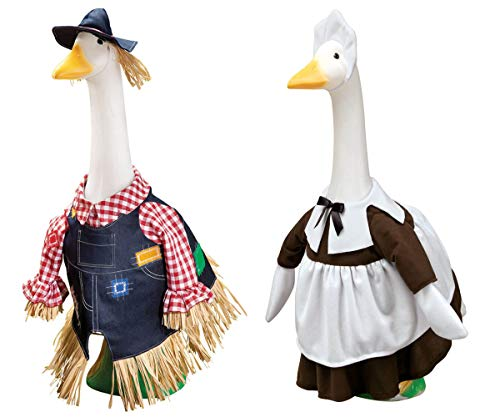 (MS HOME Goose Outfit Scarecrow and Pilgrim Girl, Multicolor 2 Pcs)