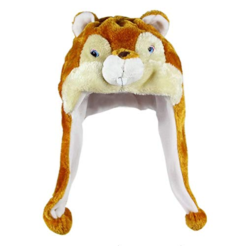 NYKKOLA Plush Faux Fur Animal Critter Hat Cap, Soft Warm Winter Headwear Fun Cute Beanie Hat Polyester Fleece Lining (Groundhog) -