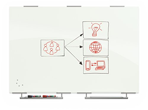 (Best-Rite Magnetic Glass Dry Erase Whiteboard with Exo Tray System, 4 x 6 Feet, Glossy White (83845-2X576))