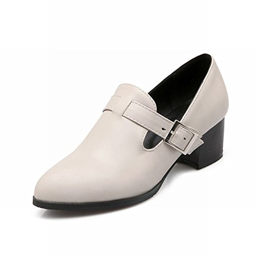 Latasa Womens Fashion Buckle Chunky Mid-heel Monk Strap Shoes, Mocassini Scarpe Bianco Sporco