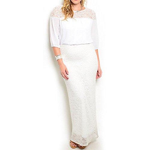 8516 - Plus Size 3/4 Sleeve Lace Chiffon Maxi Long Wedding Dress White (2X)
