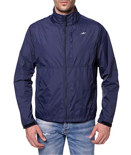 Nylon Mens Windbreaker - Trailside Supply Co. Men's Standard Water-Repellent Nylon Windbreaker Front-Zip up Jacket, Sapphire Blue, Large