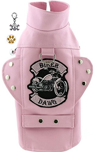DOGGIE DESIGN Biker Dawg Motorcycle Harness Jacket with Skull Charm and Button Pin – Choice of Pink or Black - Dog Sizes XS Thru 3XL (L- Chest 19-21