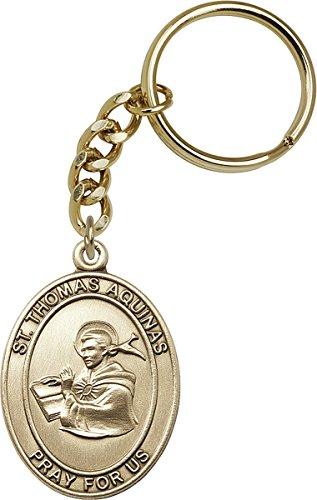Gold Toned Catholic Saint Thomas Aquinas Medal Key Chain