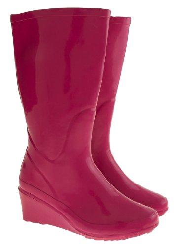 Footwear Studio Mujer Talón de Cuña Botas de Goma Color De Rosa
