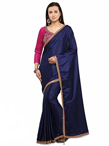 Blue Saree Handicrfats Export Colors Indian Poly Navy Silk Solid nRC4Aqw