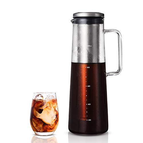 Soulhand Airtight Cold Brew Coffee Maker Glass Pitcher Tea Infuser with Removable Stainless Steel Filter Heat Resistant Borosilicate Glass for Coffee Tea and Lemonade