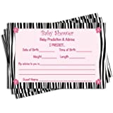 Baby Shower Advice & Prediction Cards for Mom Zebra...