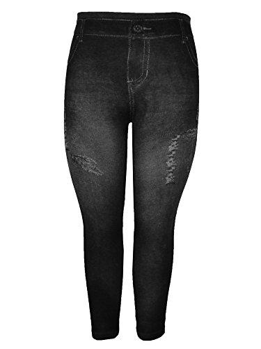Crush Womens Printed Distressed Denim Jeggings Leggings Black Size Small Medium