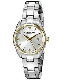 Stuhrling Original Women's 414L.03 Classic Ascot Stainless Steel Bracelet Date Watch with Gold-Tone Bezel and Swarovski Crystals