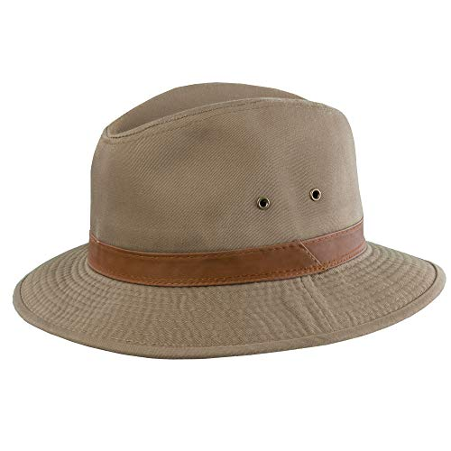 Dorfman Pacific Men's One-Piece Canvas Faux Leather-Trim Safari Hat,Bark,Large