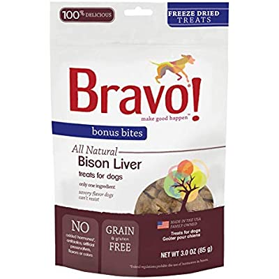 Bravo! Bonus Bites All Natural Freeze Dried Bison Liver Dog Treats - Grain & Gluten Free - 3 Ounce Bags