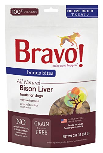 Bravo Bonus Bites Dog Treats Freeze Dried Buffalo Livers Snack - All Natural - Grain Free - 3 oz ()